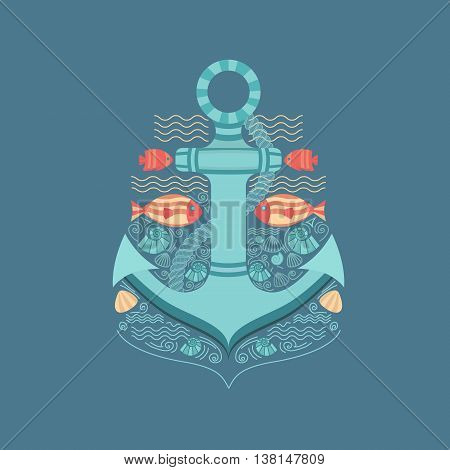 Vector illustration of a sea anchor. Anchor with rope, fish and shells. Illustration in a nautical style. flat design. Vector background for cards, invitations, banners, web pages, posters.