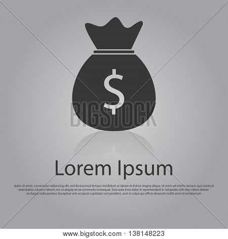 Vector icon of Money Bag. Flat design style. EPS 10