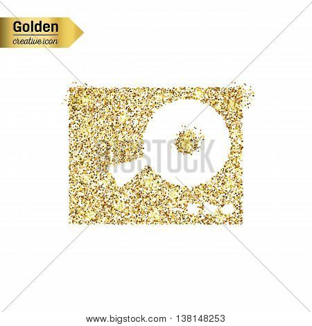 Gold glitter vector icon of DJ mixer table isolated on background. Art creative concept illustration for web, glow light confetti, bright sequins, sparkle tinsel, abstract bling, shimmer dust, foil.