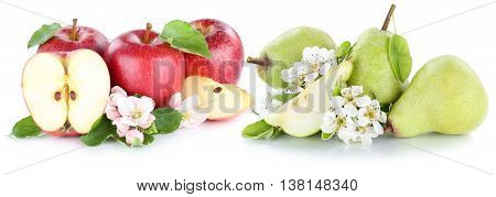 Apple And Pear Apples Pears Fresh Fruit Red Green Fruits Slice Isolated