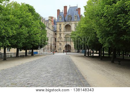 FONTAINEBLEAU FRANCE - MAY 16 2015: This is tower-dungeon which is located in the most ancient part of the architectural ensemble - Oval yard.