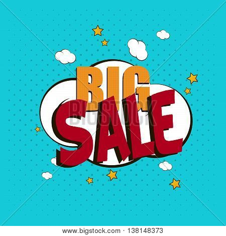 Comic template vector Pop-Art bubble design sale dialog. Burst retro graphic talk communication boom pop art speech bubble. Balloon fun sale element pop art speech bubble dialog humor cloud.
