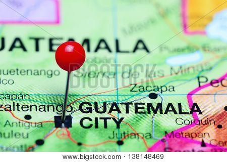 Guatemala City pinned on a map of Guatemala