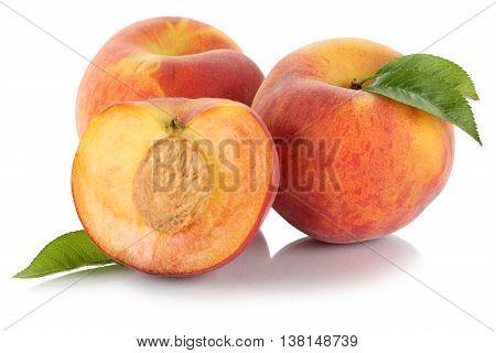 Peach Peaches Fruit Fresh Fruits Isolated On White