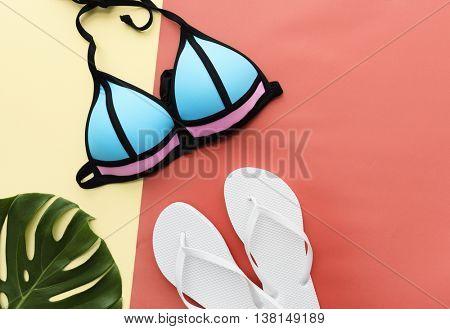Summer Mockup Copyspace Bikini Sandals Concept