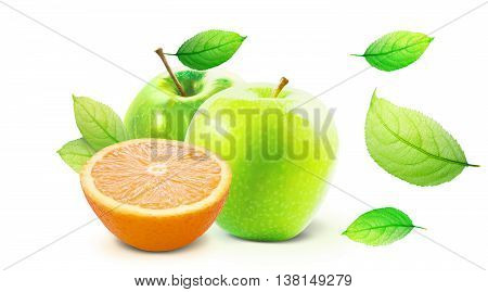 Green Apple and half of orange isolated on white background with clipping path. Green Apple and Orange with leaves. Isolated green leaves on white with work path. Several ripe summer fruits isolated.