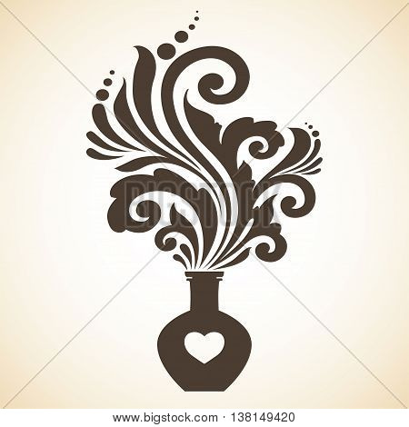Decorative vintage ornamental love potion vector illustration