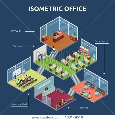 Isometric business organization office 3 storey building plan interior view dark background poster abstract vector illustration