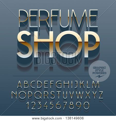 Set of slim reflective alphabet letters, numbers and punctuation symbols. Vector gold icon with text Perfume shop. File contains graphic styles