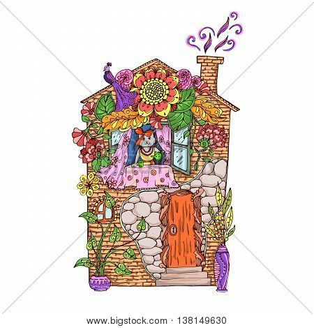 Adult coloring page. Colored illustration. Cat in the colorful house drinking tea.