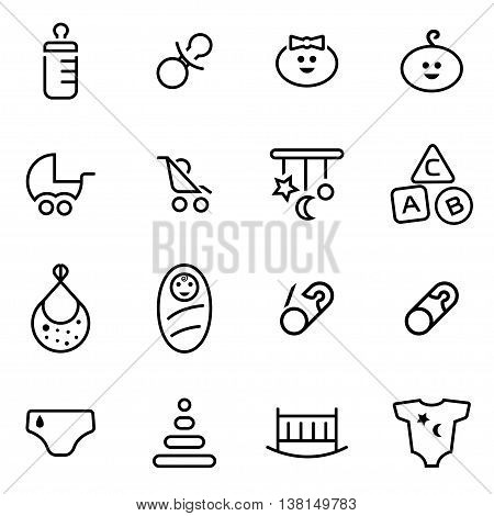 Vector illustration of thin line icons - baby on white background