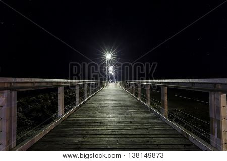 Old Wellington Point jetty and night lights