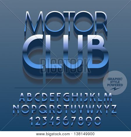 Set of slim reflective silver alphabet letters, numbers and punctuation symbols. Vector blue sign with text Motor club. File contains graphic styles