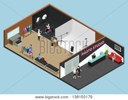 Photo studio reception interior and high fashion photography shooting with white and black background isometric vector illustration