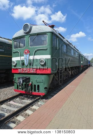 MOSCOW, RUSSIA - JUNE 23, 2016: Museum of Railway Transport of the Moscow railway Soviet electric locomotive of direct current series VL (