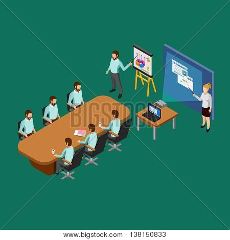 Isometric presentation room concept with clerks listening to reports vector illustration