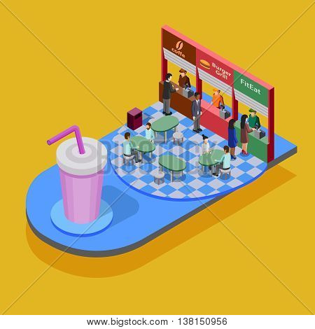 Fast food isometric concept with big glass and people eating in fast food restaurant on yellow background vector illustration