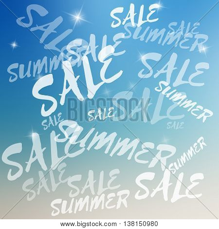 Vector summer sale template. Summer sale template on blurred colorful background. Template with text with various size and opacity. Sale card template for various use. Background with sparkles.