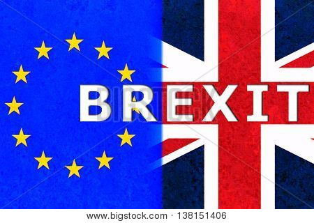 brexit half of EU and united kingdom flag on rusty steel sheet background vote for united kingdom exit concept