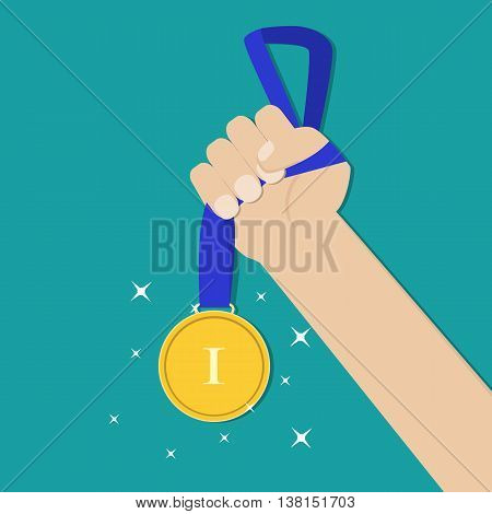 Hand holding golden medal champion prize winner reward. Business or sporting achievements, the championship winner. victory. Vector illustration in flat style on green background