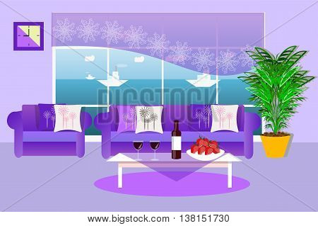 The interior of the living room , food, drinks, potted plant, sea view