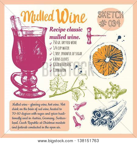 Classical winter drink. Vector illustration with recipe of mulled wine grape cinnamon orange. Winter celebratory drink.