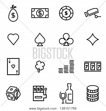 Vector illustration of thin line icons - casino on white background