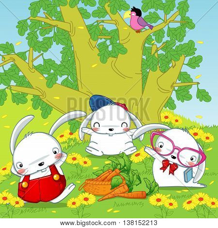 bunny rabbits in the forest, carrots and rabbits