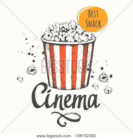 Sketch design. Cinema snack. Hand drawn fast food. Cinema.