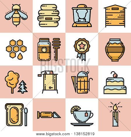 Apiary vector icon set. Set of thin line colorful bee and honey icons
