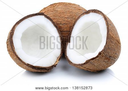 Coconut Coconuts Fruit Sliced Half Fruits Isolated On White