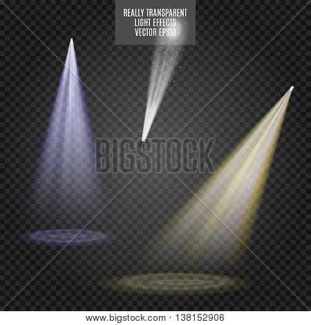 Vector Spotlights set. Light Effects. White blue yellow glow. Really transparent effect.