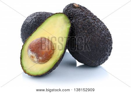 Avocado Avocados Fruit Half Fruits Isolated On White