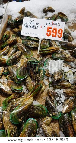 SYDNEY - AUG 21: Mussel sold in Sydney Fish Market on August 21 2015 in Sydney. It is 3rd largest fish market in the world established in 1945 by the government.