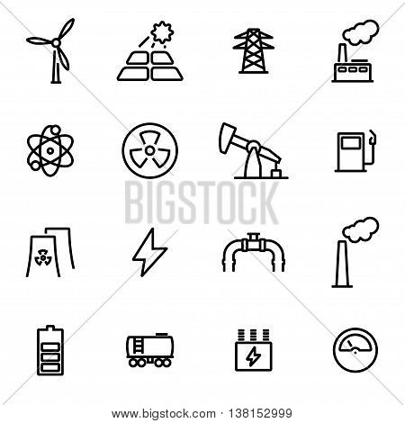 Vector illustration of thin line icons - energetics on white background