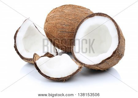 Coconut Coconuts Fruit Sliced Portion Fresh Fruits Isolated On White