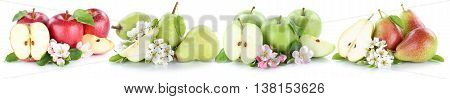 Apple And Pear Collection Set Apples Pears Fruit Sliced Fruits Isolated On White