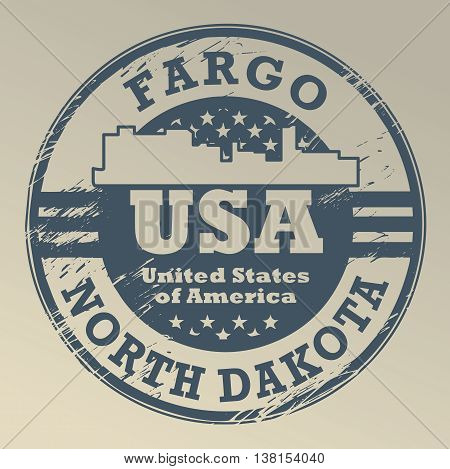 Grunge rubber stamp with name of North Dakota, Fargo, vector illustration