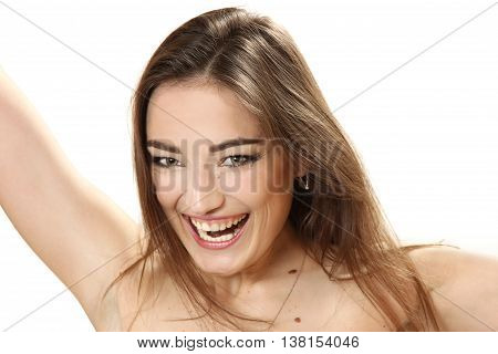 emotional portrait of the young woman on a white background