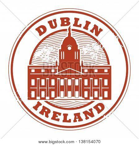 Grunge rubber stamp with Dublin, Ireland inside, vector illustration