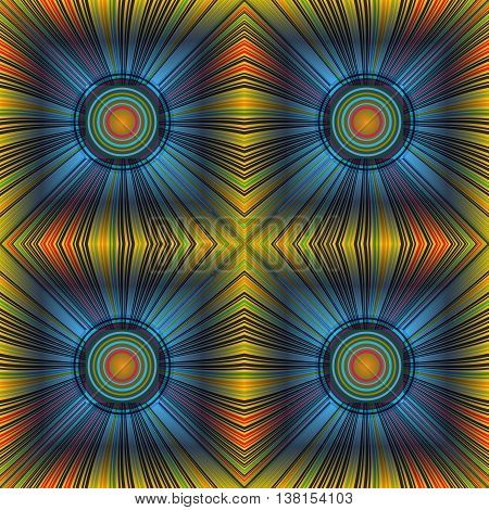 3D illustration. Seamless c radial rays and concentric circles. The three-dimensional luminous psychedelic space. Regular pattern.