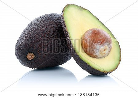 Avocado Avocados Fruit Sliced Half Fresh Fruits Isolated On White