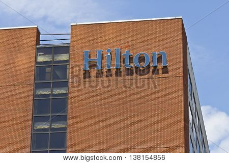 Ft. Wayne IN - Circa July 2016: Downtown Hilton Hotel Location. Hilton is a global brand of full-service hotels I