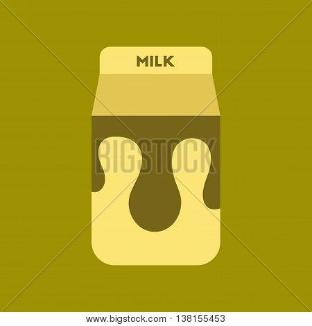 flat icon on stylish background coffee carton of milk