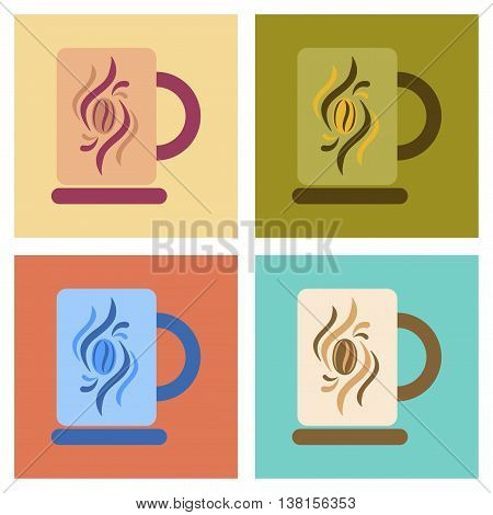 assembly of flat icons coffee cup flavor