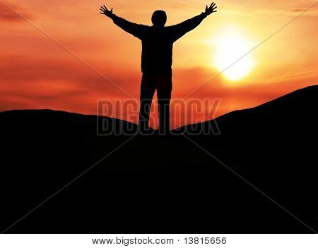 Happy man silhouette