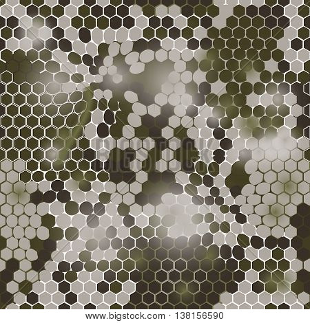 Hexagonal camouflage.Vector digital hexagonal camo seamless pattern