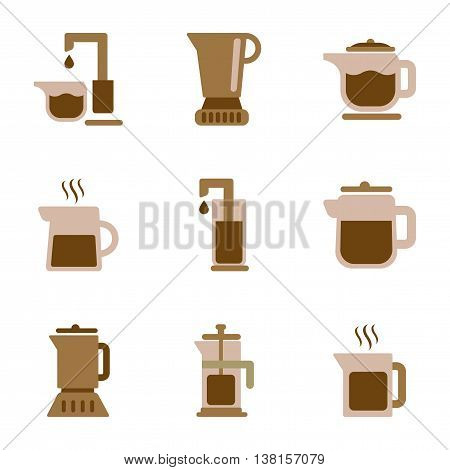 assembly of flat icons coffee machine maker
