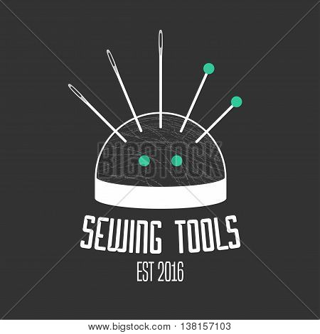 Tailor shop vector logo sign emblem. Design element for dressmaking clothing sewing service