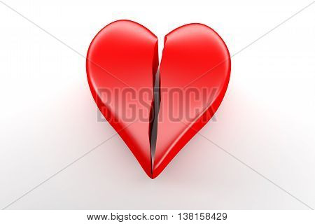 Broken Red Heart On White Background